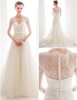 anne queen - 2015 newest Sheath Wedding Dresses A Line Court Train Lace And Tulle Queen Anne Neckline Bridal Gown With Sash romantic applique lace Pefect