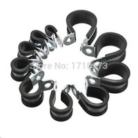 best pipe clamps - Brand New EPDM Rubber Lined P Clip mm Clamps Cable Wire Fuel Hose Petrol Pipe Sizes Best Promotion