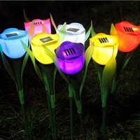 solar power flower - Outdoor LED Solar Powered Tulip flower light Landscape Path Premium quality rose shape bright colorful LED solar lights Outdoor Yard Lamp