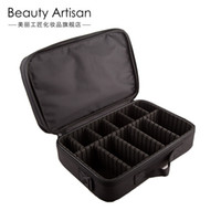 artists craftsman - Beautiful craftsman hand partition Cosmetic Case Black large capacity box containing professional makeup artist with makeup case