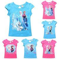Cheap 2015 baby children from frozen cartoon 100% Cotton shirt children summer Girl T-shirt short sleeve T shirt 3D printer