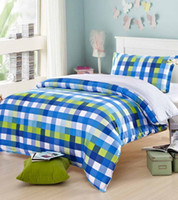 Wholesale Cute blue plaid bedding sets teens kids twin cotton single home textiles bedsheets quilt cover pillow case