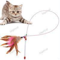 Wholesale 30pcs Colorful Feather Design Tease Cat Stick Cat Catcher Teaser Toy Color Assorted