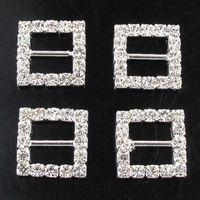 Wholesale Fashion mm Crystal Rhinestone Square Buckle Ribbon Slider Rhinestone Buckle DIY Candy Box Ornaments wa132h20