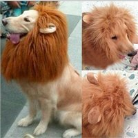 Wholesale Pet Costume for Large Dog Lion Mane Head Headgear Hat with Ears Brown Color high quality