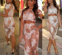Wholesale New Sexy Embroidery Lace Mesh Two Piece Dress White Sexy Bodybon Dress club Party Dress