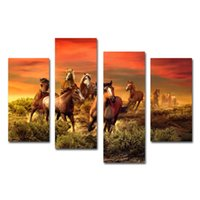 Cheap 4 pcs Canvas Art Picture Printed on Canvas Modern Wall Decor Oil Painting Horses Running on Prairie in Sunset Stretched to Hang