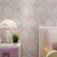 Wholesale European Pastoral Non woven Wallpaper Roll D Embossed Damascus Living Room Marriage Room Bedroom Wall paper Durable Breathable