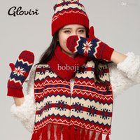 Wholesale Fashion Glovin autumn and winter christmas knitted thermal scarf hat gloves piece set female hot sale