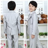 Wholesale 2015 Child Boys Formal Tuxedo Costume Suit Sets Kids Sliver Silver Noble Prom Party Suit Wedding Suits For Baby Boys R4