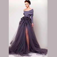 Cheap Vestidos De Fasta A-Line Long Sleeves Myriam Fares Tulle La Star De La Robe Evening Celebrity Dresses Summer Long Split Prom Evening Gowns