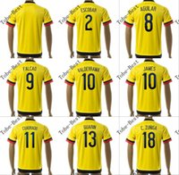 colombia - customized colombia falcao guarin home yellow soccer jersey football jerseys tops shirts accept mix order