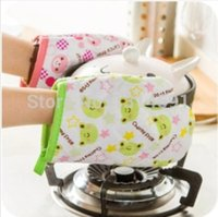 Wholesale 5 pairs Canvas Creative cartoon animals Microwave oven mitts insulated Baking Gloves cute Kitchen Glove pink green color