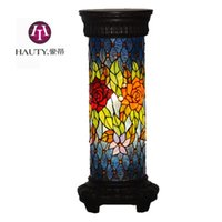asian lamp shades - Hao Di decorative lighting living room floor lamp drum shaped shade Southeast Asian style stained glass Rose