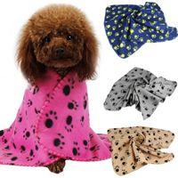 Wholesale Warm Pet Small Medium Large Paw Print Pet Cat Dog Fleece Soft Blanket Bed Mat