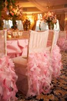 Wholesale 2015 Wedding Chair Covers Supplies Luxury Pink Ivory White Organza Ruffles Romantic Personalized DIY Party Sash Decorations