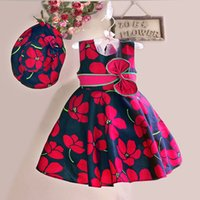 Wholesale New Girls Dress Hat Red Flower Print Bow Party Pageant Beach Princess Lovely Children Clothes Size