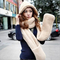 Wholesale 2015 Winter Fur Hats For Women Hat Scarf Gloves Triad Womens Girl Plush Hooded Scarf Muffler Glove Hat Set With Pocket Hat