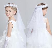 Wholesale Lovely Garland Headpiece Veils For Girls Kids Princess Garland Flower Girl Headband For Wedding Pink White Flower Girls Hair Accessory