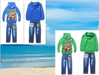 Wholesale 18 OFF Boys Clothing Sets Spring and Fall T Shirt Denim long sleeved Baby Boy Clothes Suit CottonTeenage Mutant Ninja Turtles Boys Suit TM