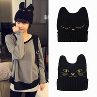 Wholesale Korean Women Wool Hats Cat Ears Devil Horns Knitting Ladies Caps For Fancy Clothing Colors EQH