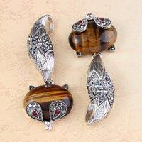 Wholesale Ladies Women Favorite Tiger s Eye Oval Natural Gem Stone Bead Beautiful Fox Reiki Pendulum Pendant Charms European Retro Jewelry