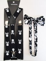 Cheap Free Shipping 2015 New Fashion Women Skull Braces Bow Ties And Suspenders Sets For Mens