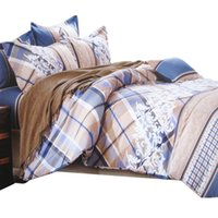 baroque bedding - Baroque Style Print New Cotton Bedding Sets Queen Full Size Blue Color Striped Flat Bed Sheet Plaid Duvet Cover Pillow Case
