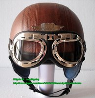 half face helmet - PP TOP Quality YOHE Leather Scooter Motorbike Open Face OFF Road Motorcycle All Coffee Brown Helmet UV Clear Glasses Adult