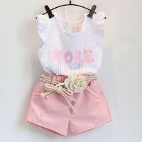 Cheap 2015 summer new Korean kids clothing girls Flying sleeve t shirts + flowers belt pink Shorts Set girls pants set baby clothes