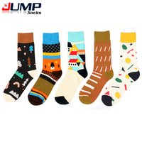 athletic brands list - 2015 Newly listed Men Women brand happy socks For colorful Combed cotton Korea style Tree house Character Print in tube socks