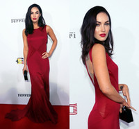 Cheap Megan Fox Elegant Evening Dresses 2015 High Neck Red Sleeveless Satin Red Carpet Gowns with Keyhole Back and Sweep Train