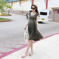 Wholesale Fashion Summer Pregnant Women Short Sleeve Loose Dress Maternity Cotton Dresses LY2 FG1511