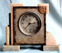 antique german marbles - German made antique marble double Wrigley colorful mechanical table clock