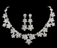 Wholesale free ship two piece bridal Crystal Necklace Earrings Necklace jewelry
