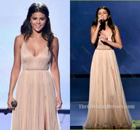 triangle music - 2015 Sexy Selena Gomez in American Music Awards Celebrity Dresses Champagne Spaghetti High Split Formal Party Prom Dress Evening Gowns Cheap
