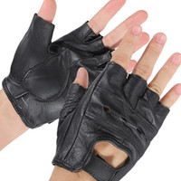 Wholesale 1 Pair Medium Black Sports Cowhide Bike Driving Motorcycle Motorbike Sport Fingerless Half Finger Leather Gloves order lt no track