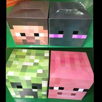 Wholesale Zorn store Minecraft carton Masks headgear Steve Enderman Wither Skeleton Creeper Pink Pig color styles masks paper model Headgear