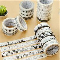 Wholesale 5 black white washi adhesive masking tape DIY album decorative tape kawaii stationery scrapbooking stickers