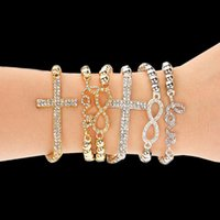 Wholesale Gold Siver Cross Crystal Stretch Beaded Bracelet Infinity Love Feather Rhinestone