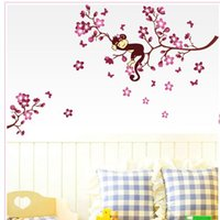 Wholesale PVC Removable Cartoon Monkey Hanging P ink Flowers Wall Paper Sticker Fashion Funny Decals Home Room Decor Murals