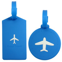 aircraft luggage - Travel Bag Luggage Accessories Round Aircraft Silicone Luggage Tags Suitcase Bag Name Address Label with Security Flap Candy Colors