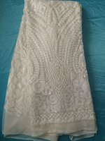 Wholesale Pretty white with embroidery sequins French net lace fabric African tulle lace material for evening dress UN9