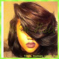beautiful bobs hair - Beautiful short bob full lace wigs high density Virgin Brazilian human hair bob straight front lace wigs