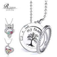 Bohemian memory lockets - RINHOO Floating Locket Tree Of Life Living Memory Charms Transparent frames Glass Crystal Charms for DIY Heart Owl Round Necklace Pendant