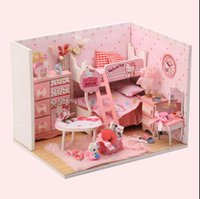 Wholesale Mini DIY LED light doll house kitty princess house D puzzle diy toy make by yourself the house is not completed