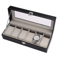 Wholesale 6 Slot Watch Storage Boxes Black PU Leather Glass Top Jewelry Display Case Box