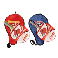 Wholesale Long Handle Shake hand Table Tennis Racket Pingpong Paddle Waterproof Bag Pouch Red Blue