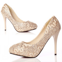 Cheap Almond-Toe Pumps with Stiletto Heels Gold Lace Wedding Shoes 10cm High-heeled Women's Shoes Bridal Shoes for Wedding Reception Party Prom