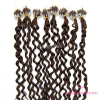 Wholesale Loop Micro Ring Hair quot quot s Medium Brown Deep Wave Style Brazilian Indian virgin Remy Human Hair Extensions